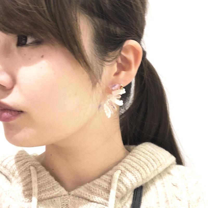 花石と水晶、淡水パールのイヤリング/ピアス 片耳