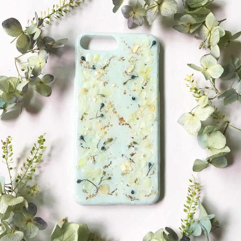 iphone8対応/紫陽花のスマホケース/エメラルドイエロー/iphone各種