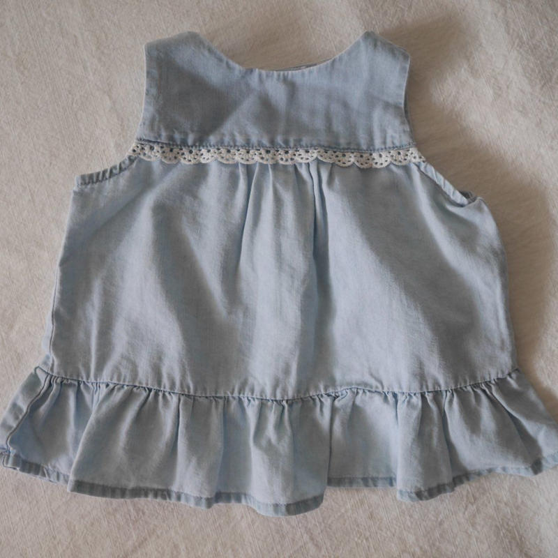 【oshkosh】Babygirl's  Denim  Lace&Frill   Top