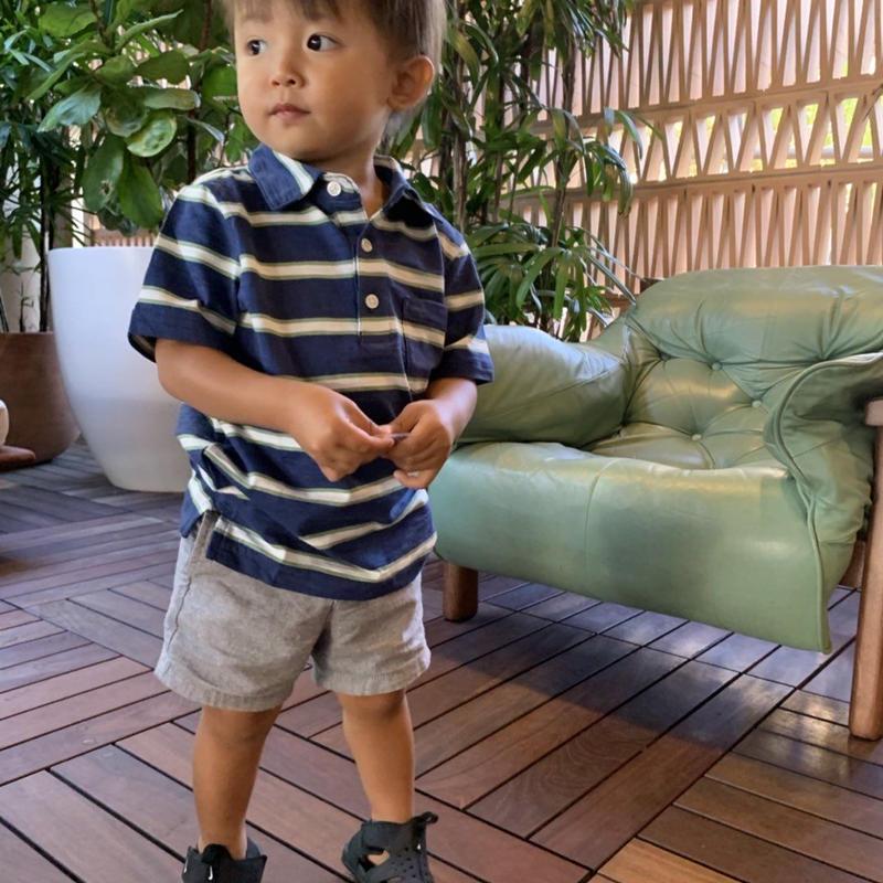 【carter's】 Stripe  Blue& Green  Polo  Cotton  Tshirt