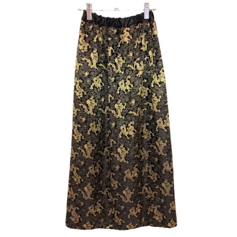 チャイナロングスカート/black×gold