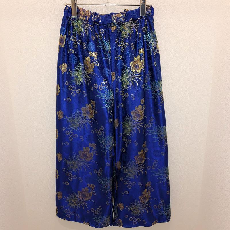 花柄チャイナワイドパンツ/blue