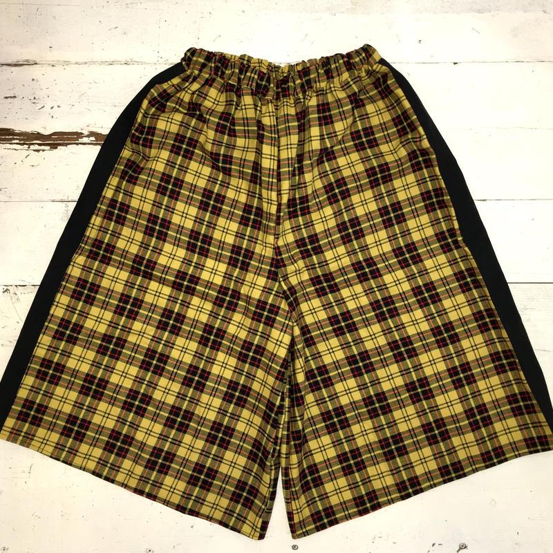 タータン チェック ライン ハーフワイドパンツ/yellow