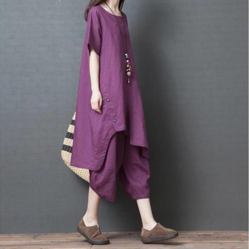 リネン  ゆったり 無地  チュニック ワイドパンツ 綿麻 パンツスーツ 2点セット 紫