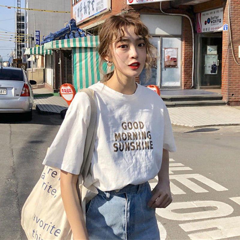 韓国風  半袖シャツ Tシャツ トップス  プリント
