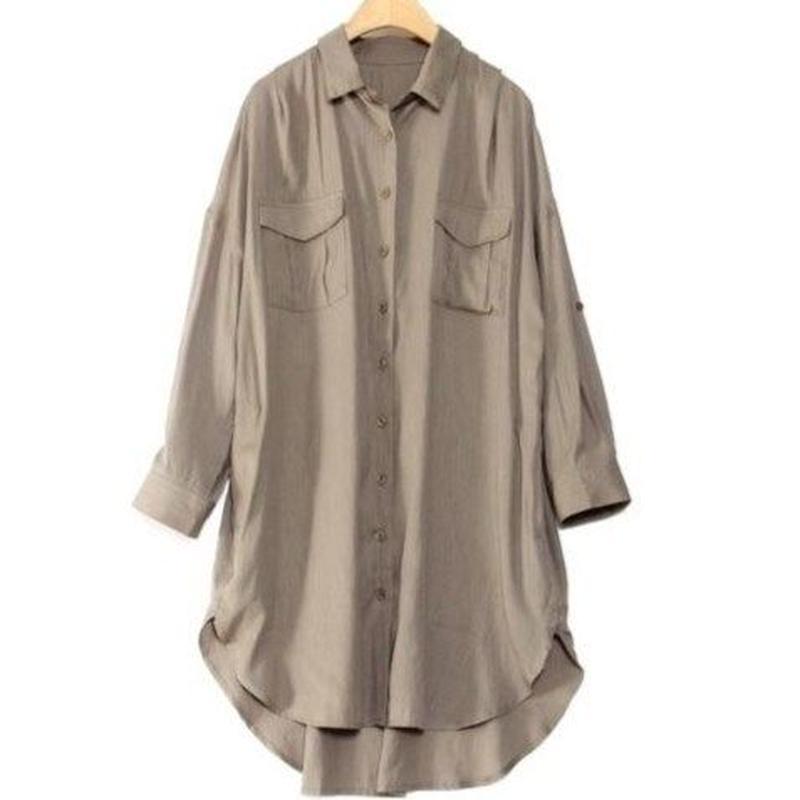 ポケット付ロングシャツ アーミーカーキ