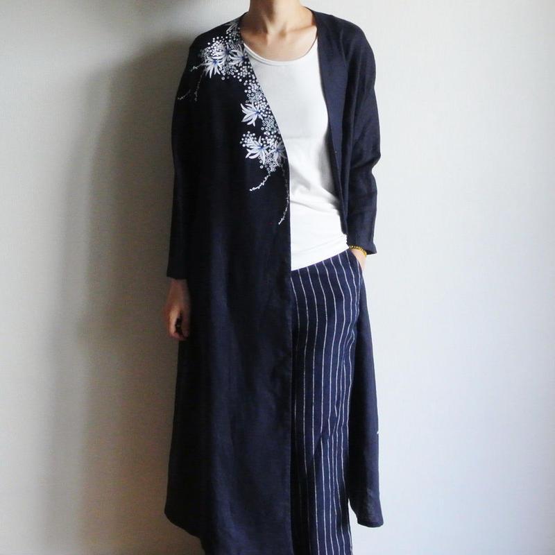 リネン羽織り・紺・海中植物