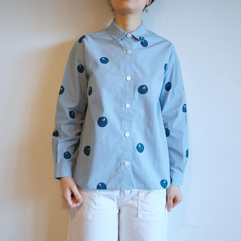 ギンガムチェックシャツ・水色・ドット椿