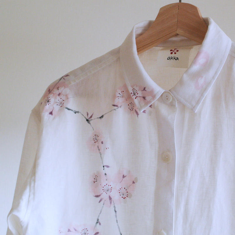 リネン・シャツ 白<桜>