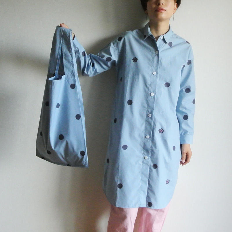ロングシャツ ギンガムチェック水色 <水玉と梅>