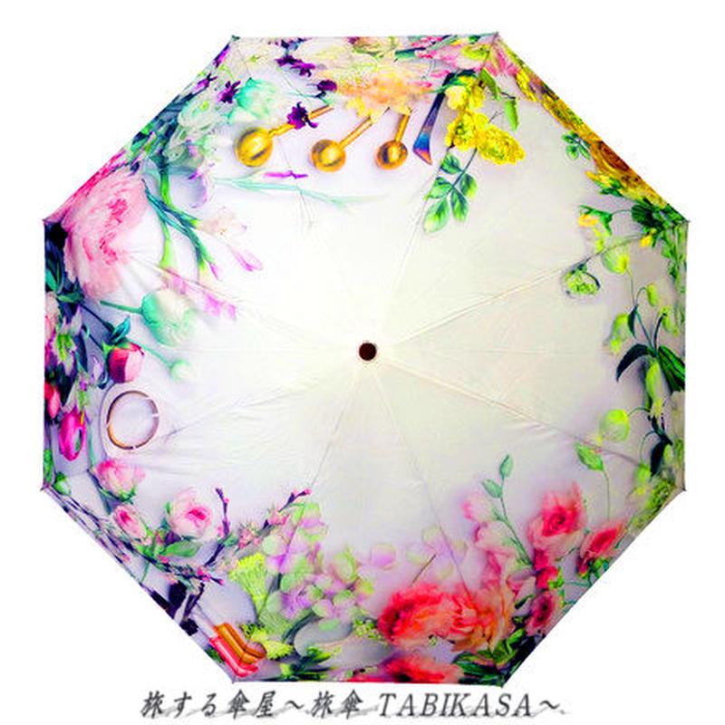 おしゃれ/暴風  傘専門店 通販 東京 レディース 折 雨傘 手動 手開き サビない 旅傘【折畳 58㎝ Botanical】