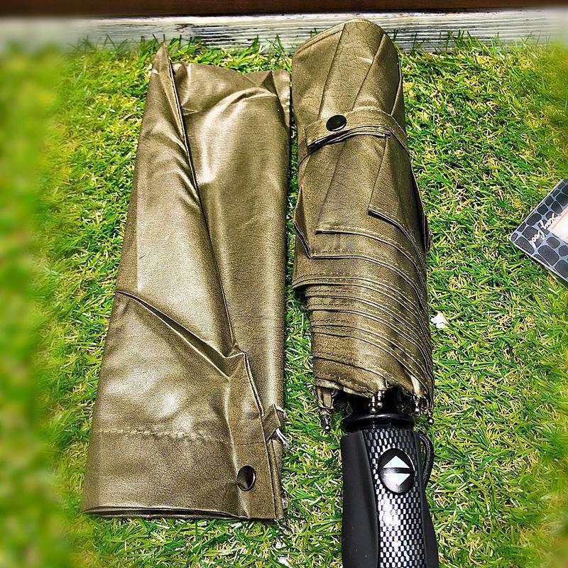 【折 自動開閉シリーズ】55㎝ 傘専門店 通販 東京 折り畳み 旅傘【Leather Style Khaki】