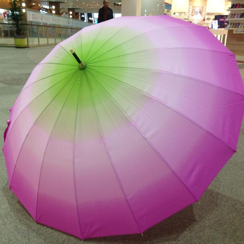 傘専門店  通販  東京  雨傘  ワンタッチ  ジャンプ  グラスファイバー  サビない  旅傘  【16本骨  グラデーション  ピンク×グリーン】