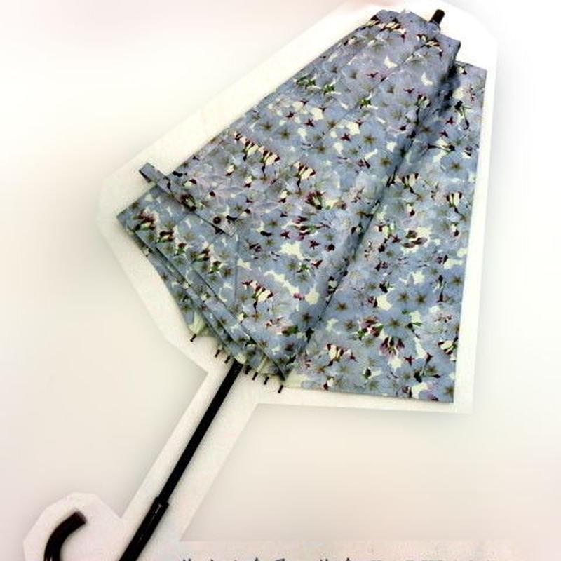 【折&長 】 傘専門店 通販 東京 雨傘 日傘 グラスファイバー 長傘  折り畳み 旅傘【MF 桜  ホワイト】