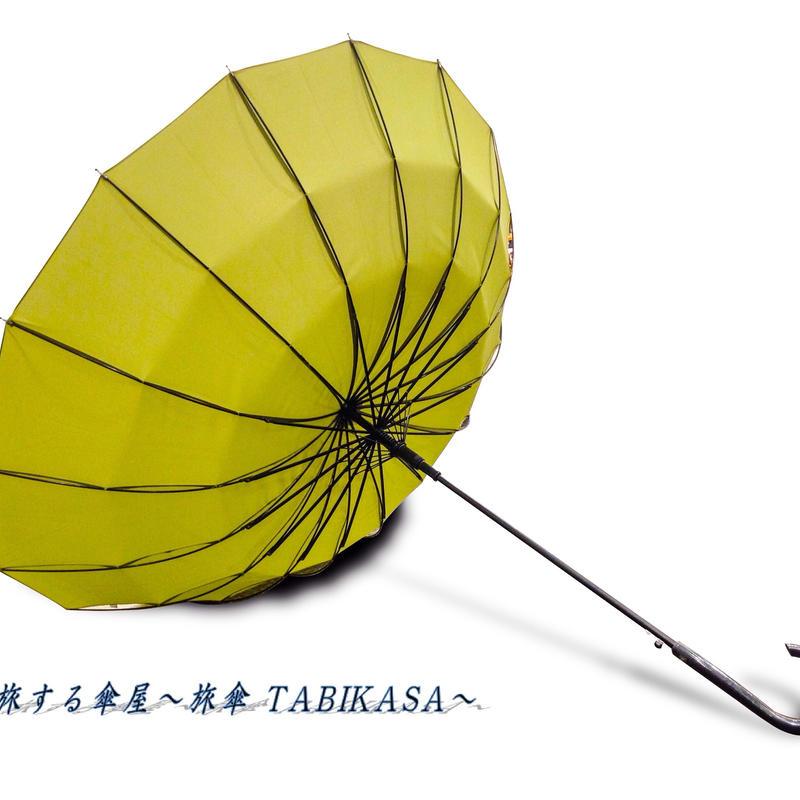 【人気】 傘専門店  通販  東京  雨傘  ワンタッチ  ジャンプ  グラスファイバー  サビない  旅傘  【16本骨  無地  若草色】
