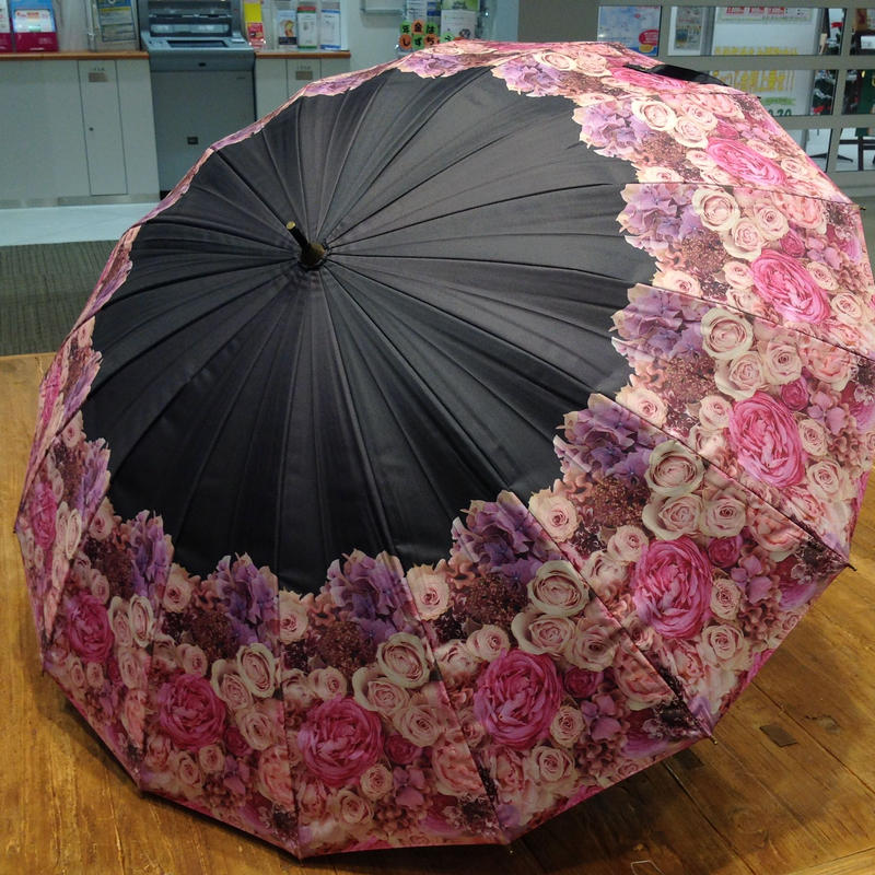 【再製造待ち】傘専門店  通販  東京  日傘 雨傘  晴雨兼用  グラスファイバー  サビない  遮光  遮熱  旅傘  【激レア16本骨  アンティークローズ】