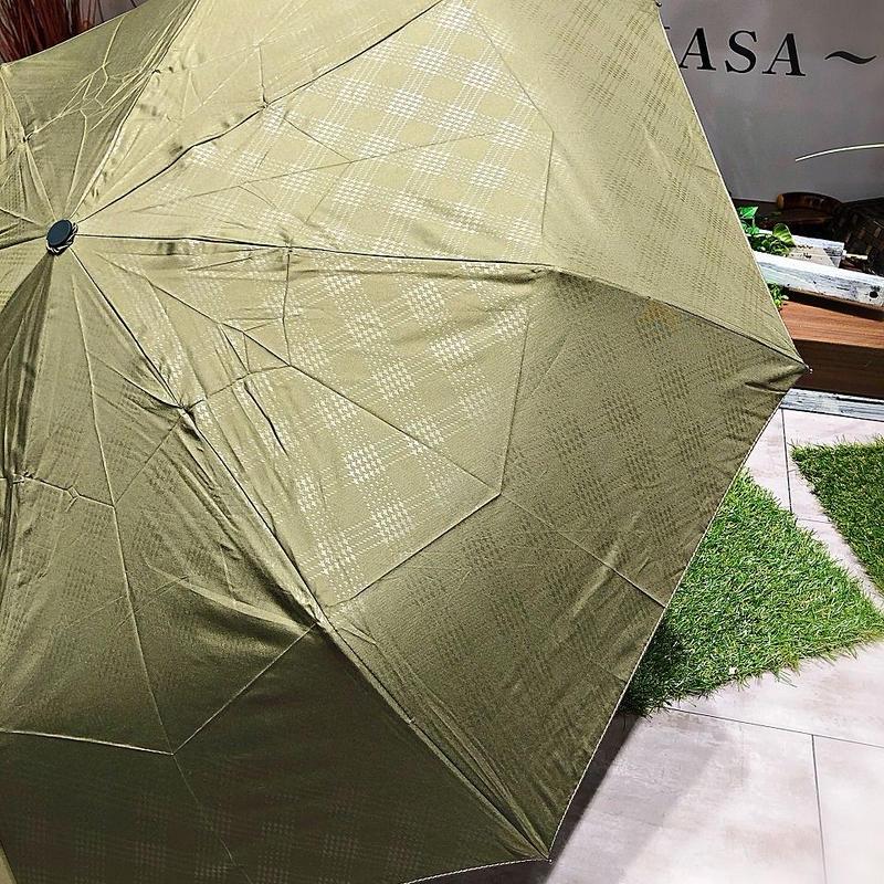 【折 自動開閉シリーズ】55㎝ 傘専門店 通販 東京 折り畳み 旅傘【Check Khaki】