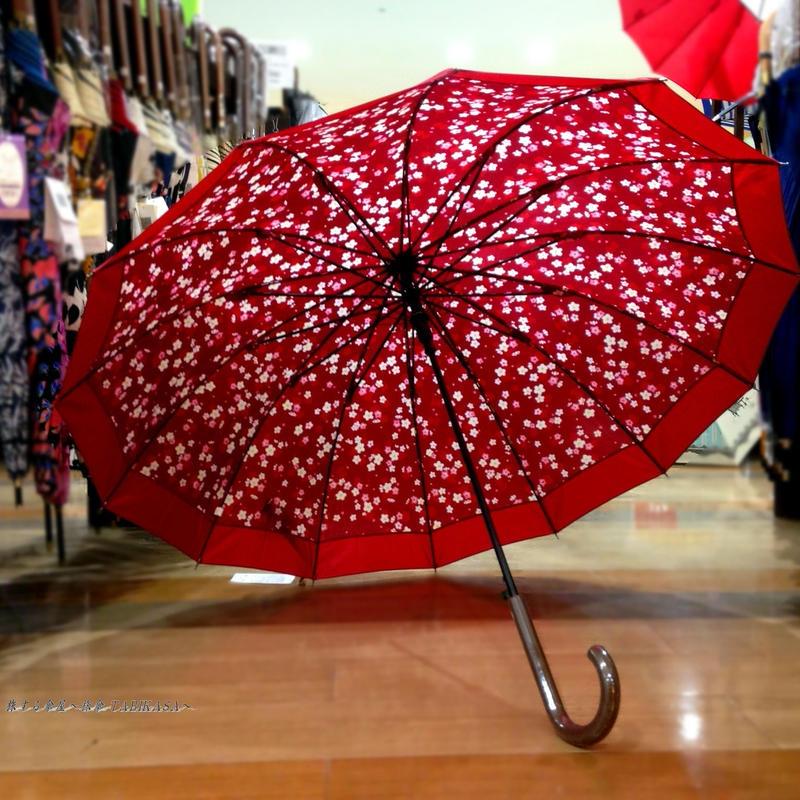 UVカット 傘専門店 通販 東京 雨傘 日傘 グラスファイバー 丈夫 旅傘【和柄  梅  エンジ】