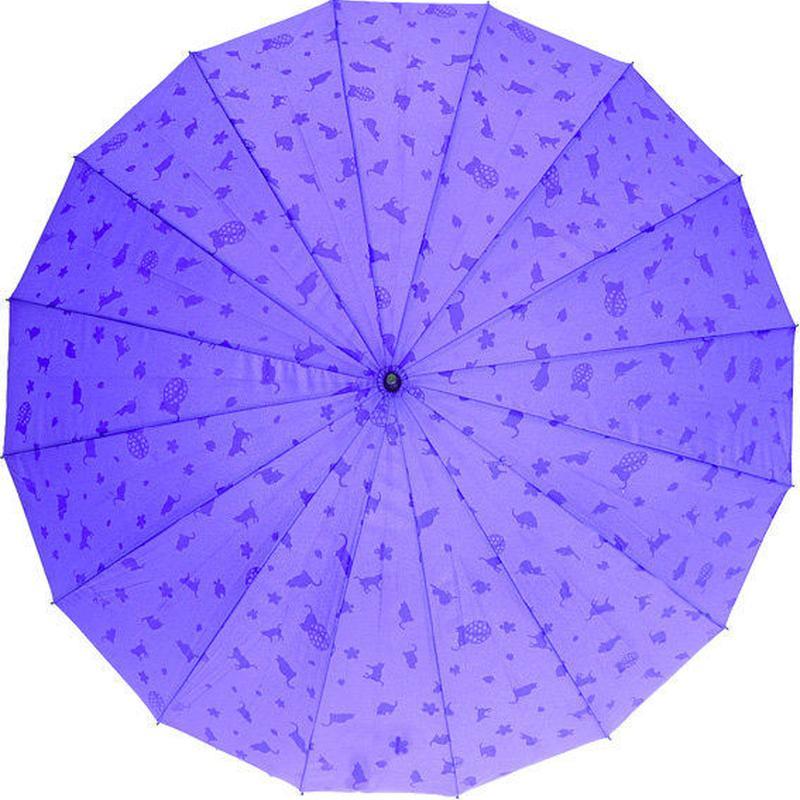 浮き出る傘  傘専門店  通販  東京  雨傘  ワンタッチ  ジャンプ  グラスファイバー  サビない  旅傘  【16本骨  浮水  猫ちゃん  ムラサキ  】
