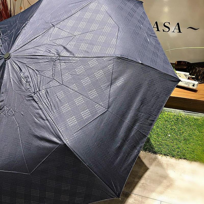 【折 自動開閉シリーズ】55㎝ 傘専門店 通販 東京 折り畳み 旅傘【Check Navy】