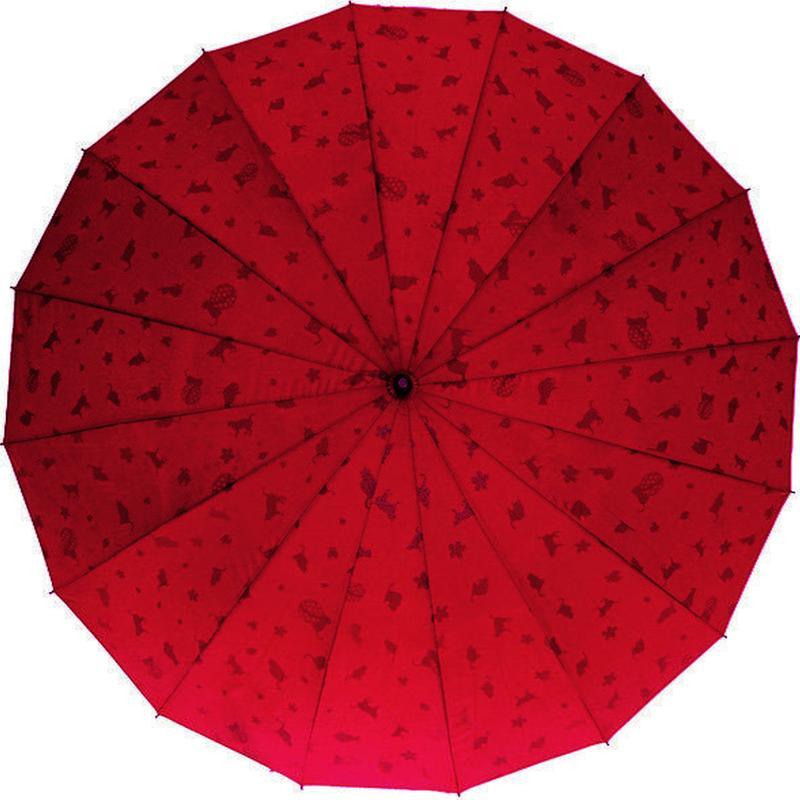 浮き出る傘  傘専門店  通販  東京  雨傘  ワンタッチ  ジャンプ  グラスファイバー  サビない  旅傘  【16本骨  浮水  猫ちゃん  エンジ色  】