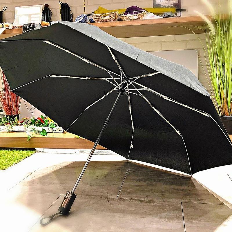 【折 メンズ 自動開閉シリーズ】55㎝ 傘専門店 通販 東京 折りたたみ 旅傘【無地 Black】