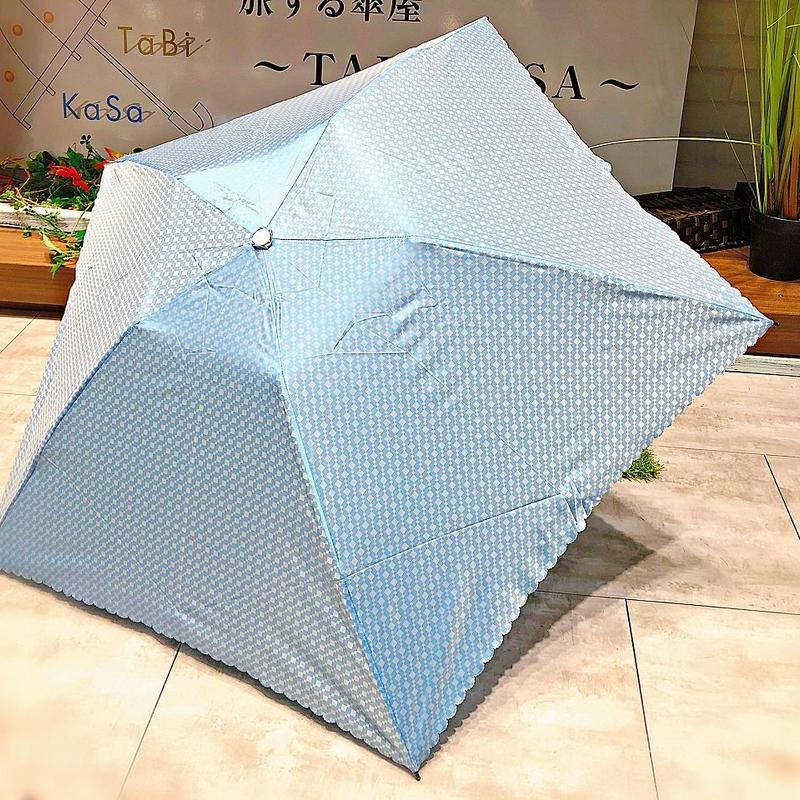 【折 超軽量シリーズ】92g 50㎝ 傘専門店 通販 東京 折り畳み 旅傘【ドビー light Blue】