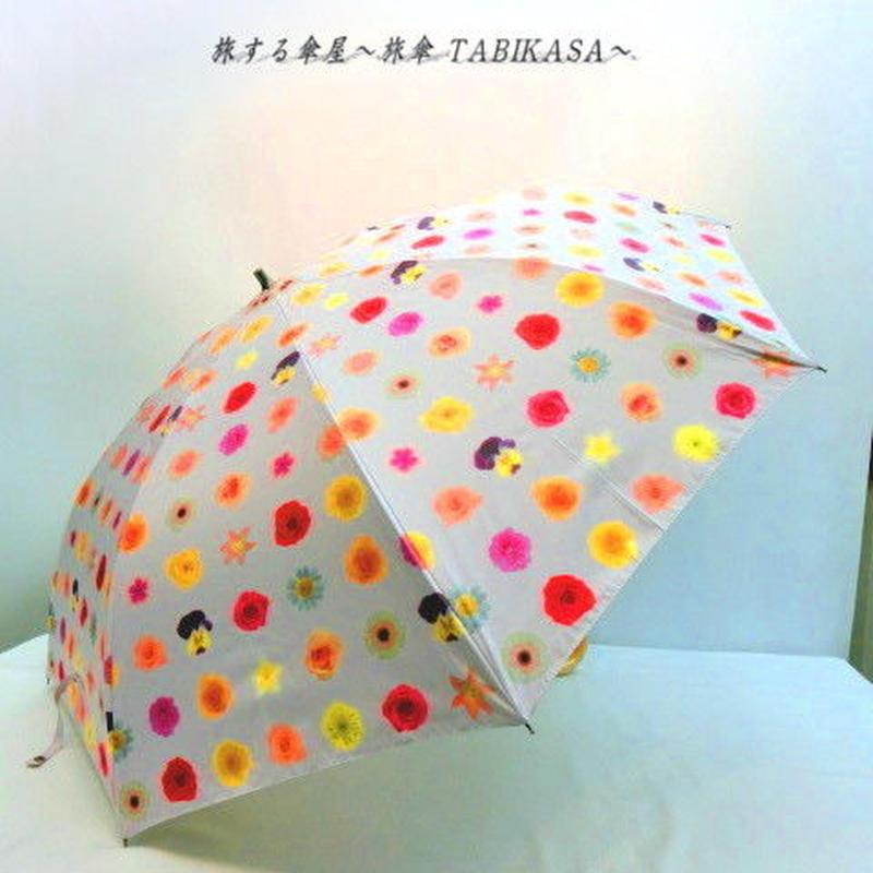 【折&長 】 傘専門店 通販 東京 雨傘 日傘 グラスファイバー 長傘  折り畳み 旅傘【MF ドットFlower pink】