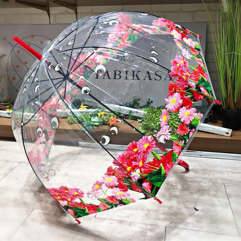 【バードゲージ 鳥かごシリーズ】傘専門店 通販 東京 手開き 雨傘 ビニ傘 レディース メンズ 旅傘【透明 マーガレット】