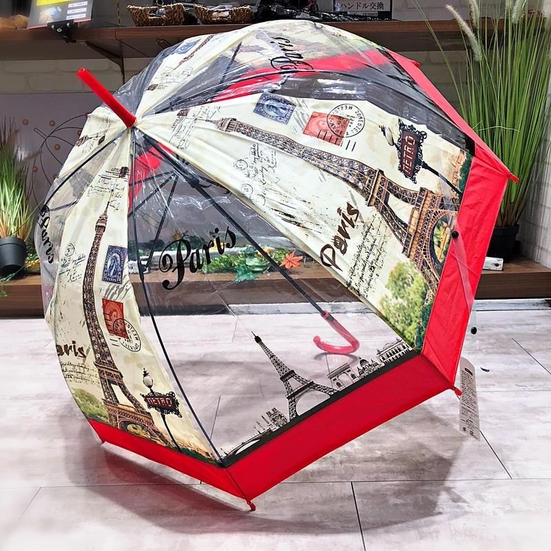 【バードゲージ 鳥かごシリーズ】傘専門店 通販 東京 手開き 雨傘 ビニ傘 レディース メンズ 旅傘【透明 パリ Red】