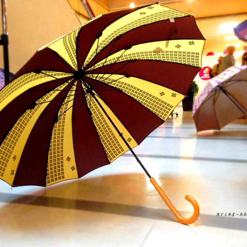 55*16本骨 傘専門店 通販 東京 レディース 雨傘 手動 手開き サビにくい 旅傘【8駒のお花 茶色】