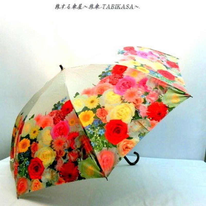 【折&長 】 傘専門店 通販 東京 雨傘 日傘 グラスファイバー 長傘  折り畳み 旅傘【MF ブーケ beige】