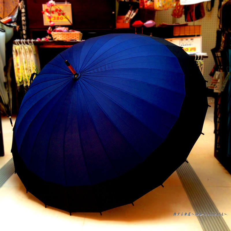 60㎝ 傘専門店 通販 東京  メンズ レディース 雨傘 サビにくい 旅傘【蛇の目 24本骨 紺】
