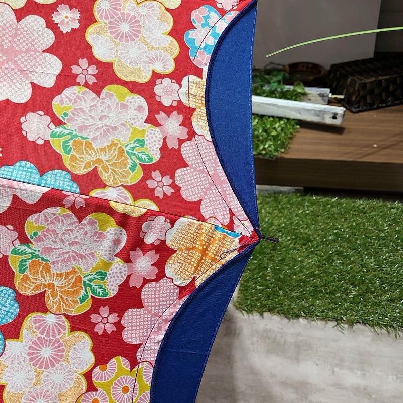 【16本骨 和柄シリーズ】55cm 傘専門店 通販 東京 晴雨兼用 UV 紫外線 旅傘【切継 紺】