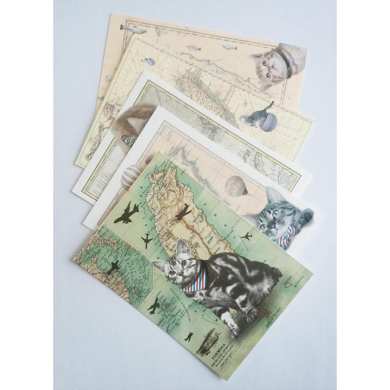 台湾ポストカード5枚セット「猫と台湾古地図」