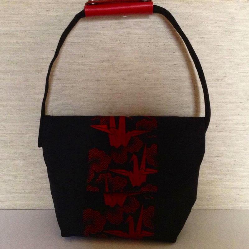 鶴、正絹帯、(本革持ち手バック)