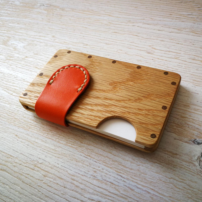 a card case オーク×オレンジ  木と革の手作り名刺入れ