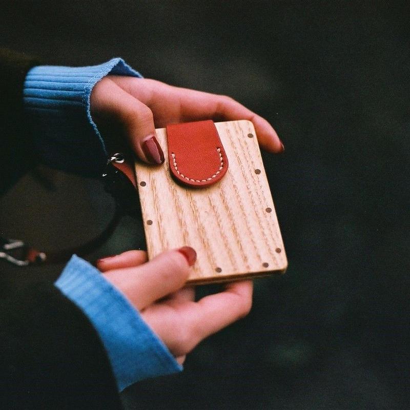 IC card case ホワイトアッシュ - 木と革のパスケース ICカード入れ -