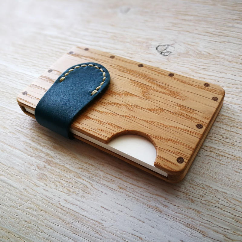 a card case オーク×ブルー  木と革の手作り名刺入れ