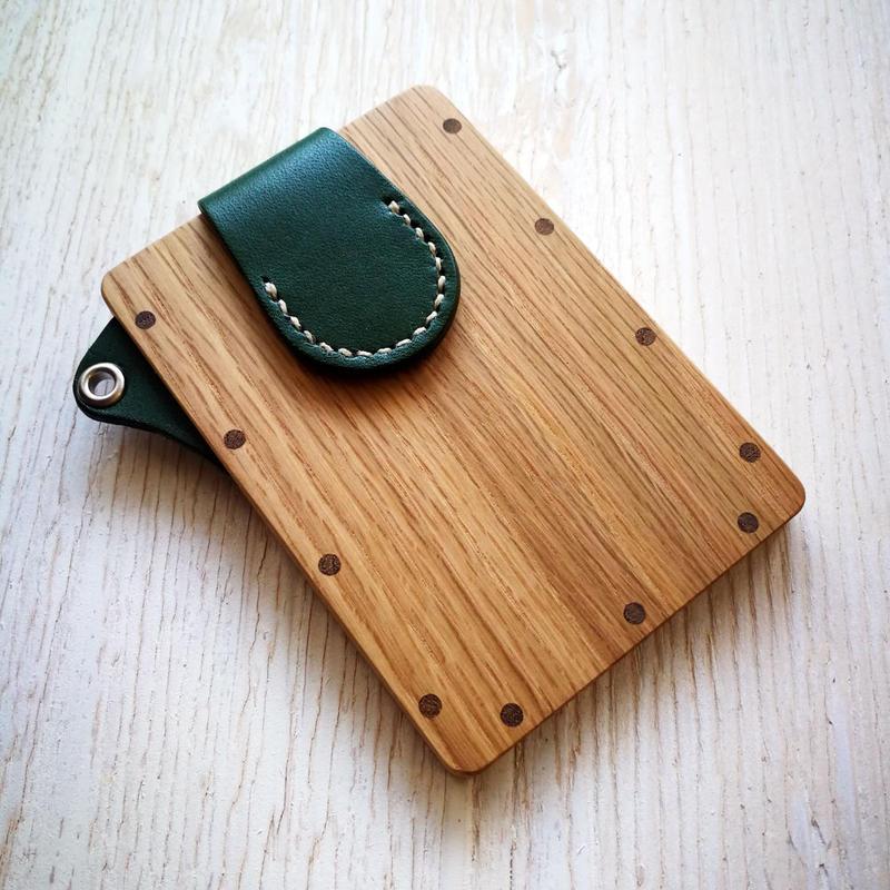 【ストラップなし】pass case オーク 木と革のパスケース ICカード入れ