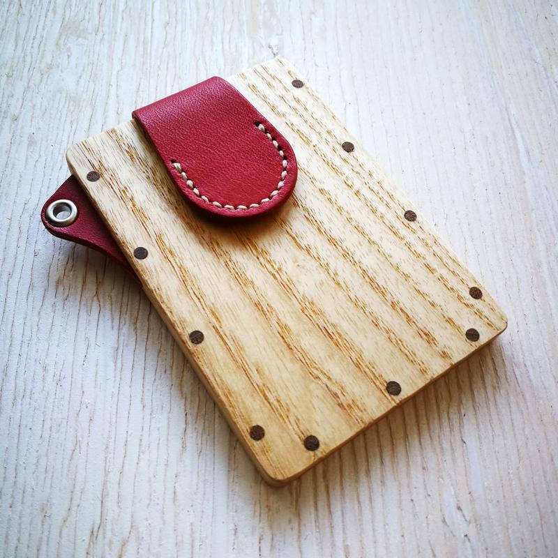 【ストラップなし】pass case アッシュ 木と革のパスケース ICカード入れ