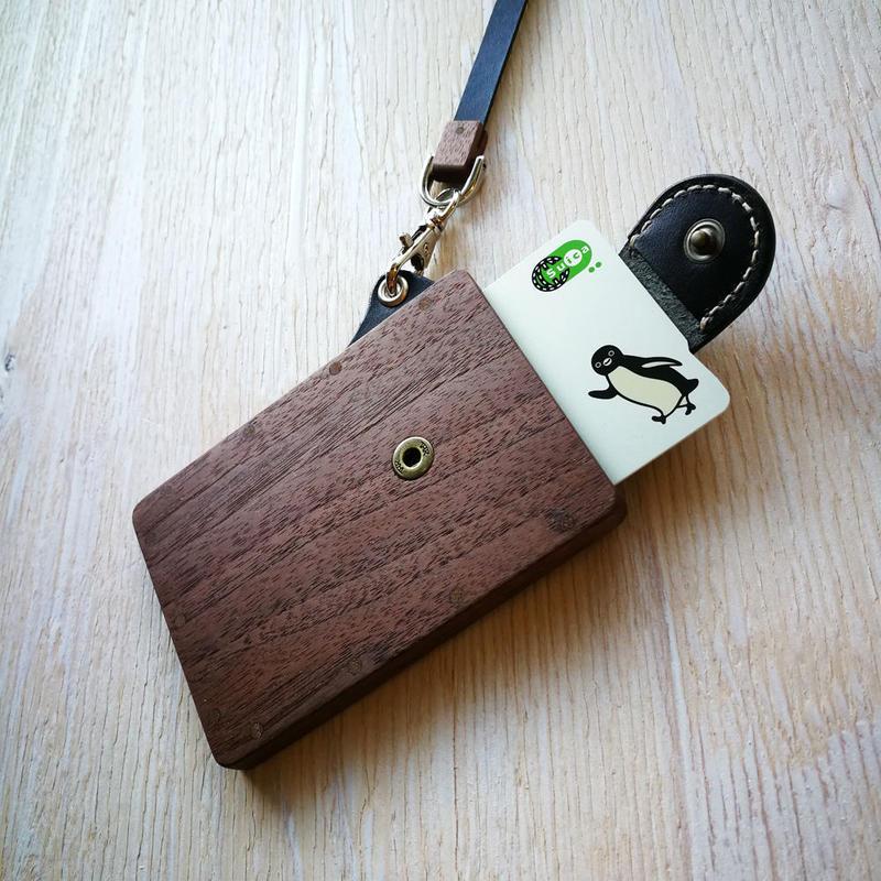 pass case ウォールナット 木と革のパスケース ICカード入れ