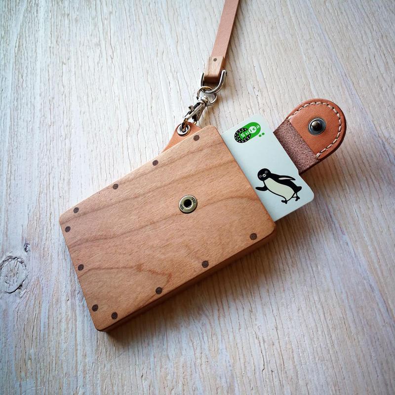 pass case チェリー 木と革のパスケース ICカード入れ