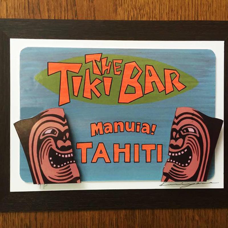 【原画】栗山義勝 タヒチアンアートボード「Tiki BAR Manuia TAHITI」