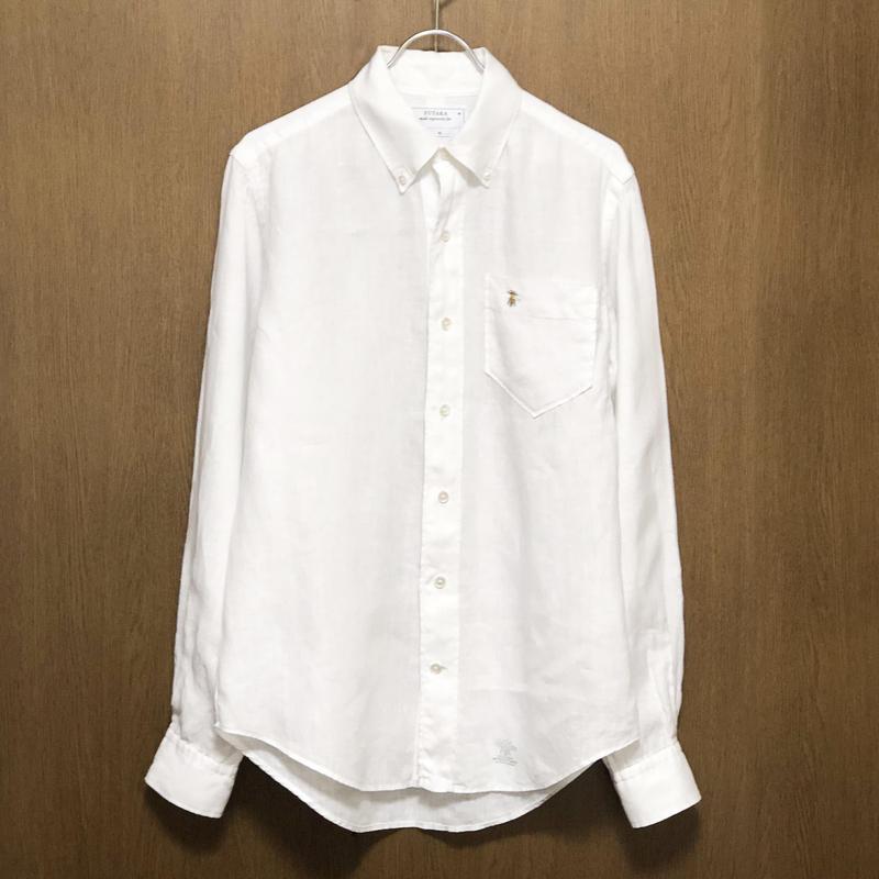 リネン  ボタンダウンシャツ ミツバチ刺繍