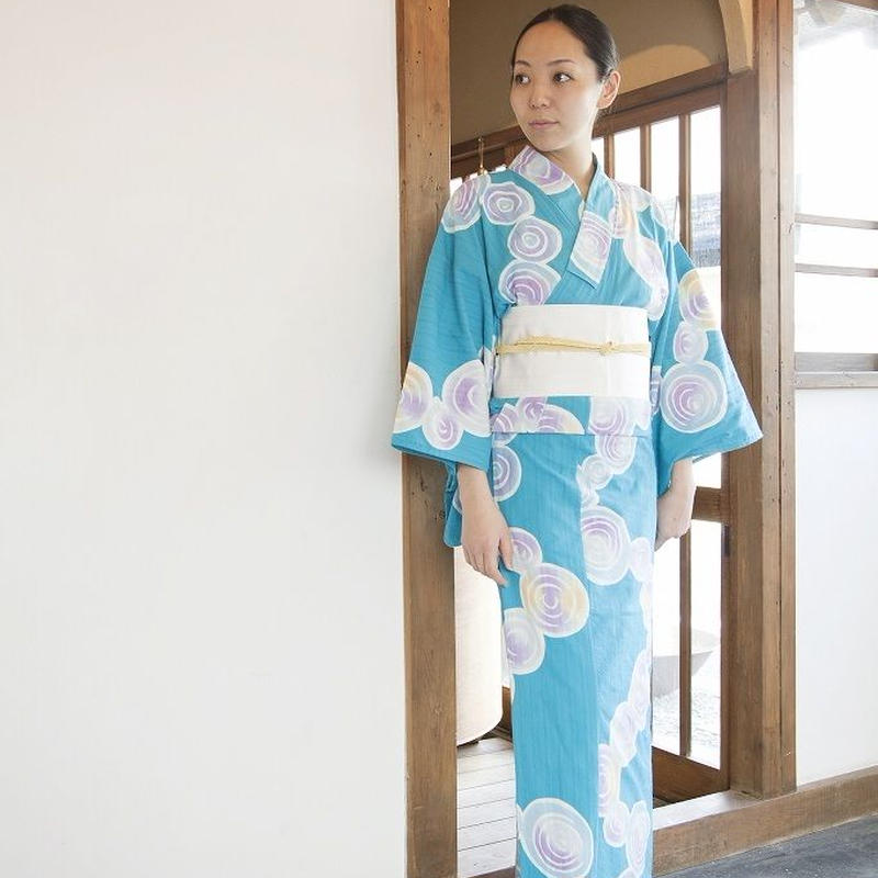 注染ゆかた お仕立て上がり「Karin」水紋・青【送料込】