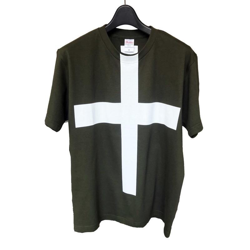 Mens PRINT-Tshirt (Army Green × white print)