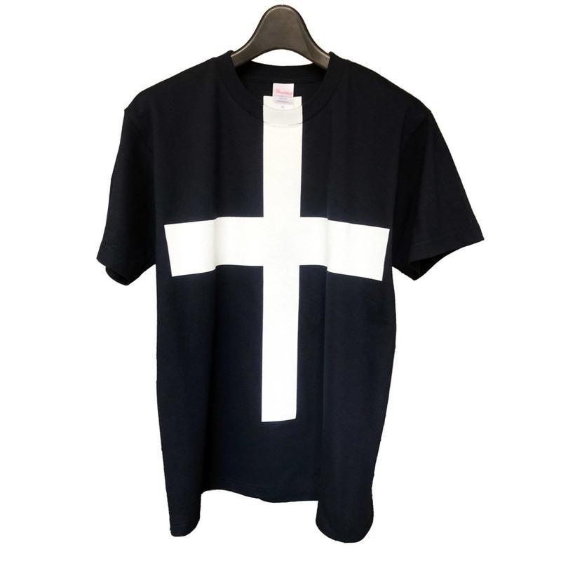 Mens PRINT-Tshirt (Navy × white print)