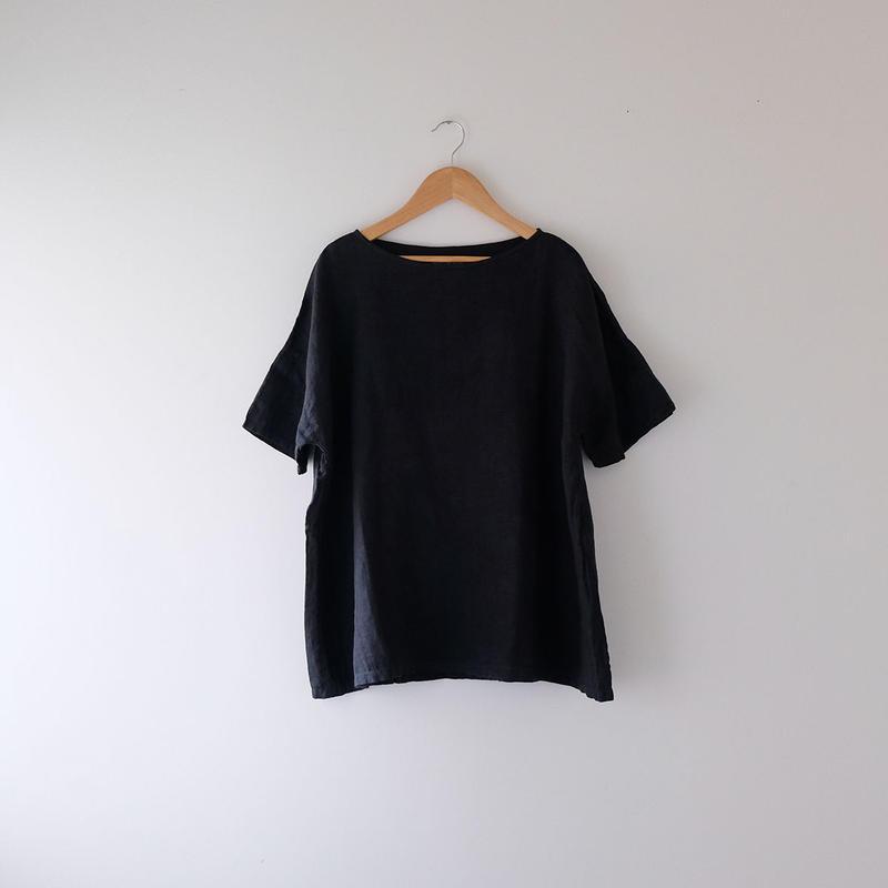半袖リネンワイドトップス(黒)/Lady's