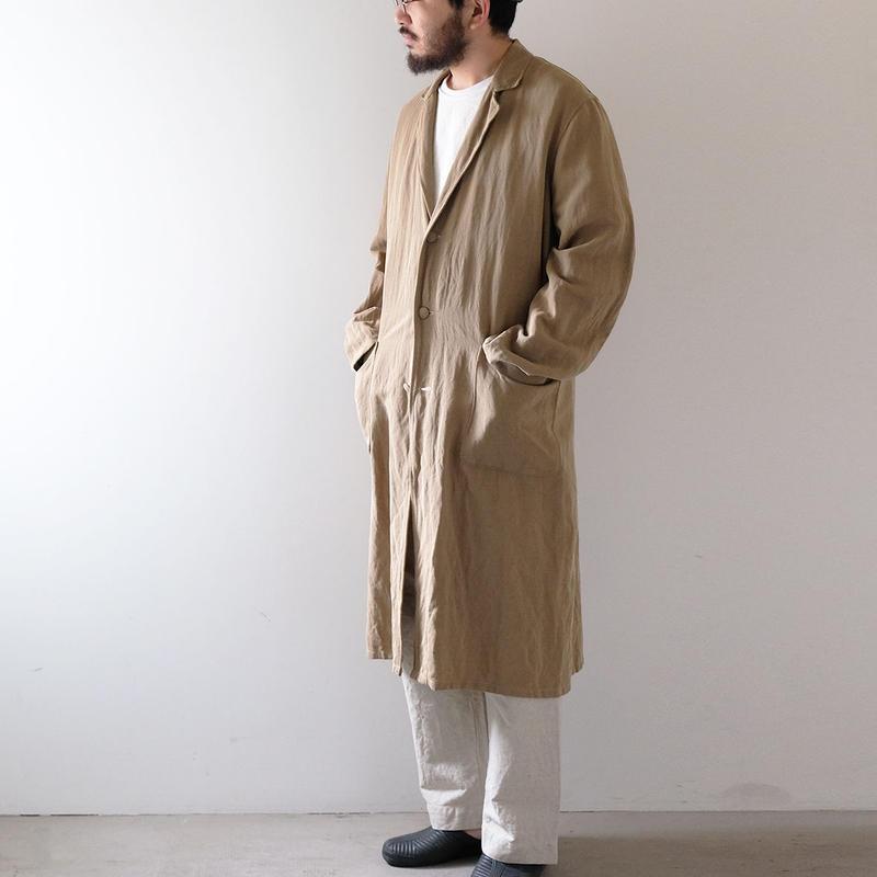 綿麻ロングコート /Men's